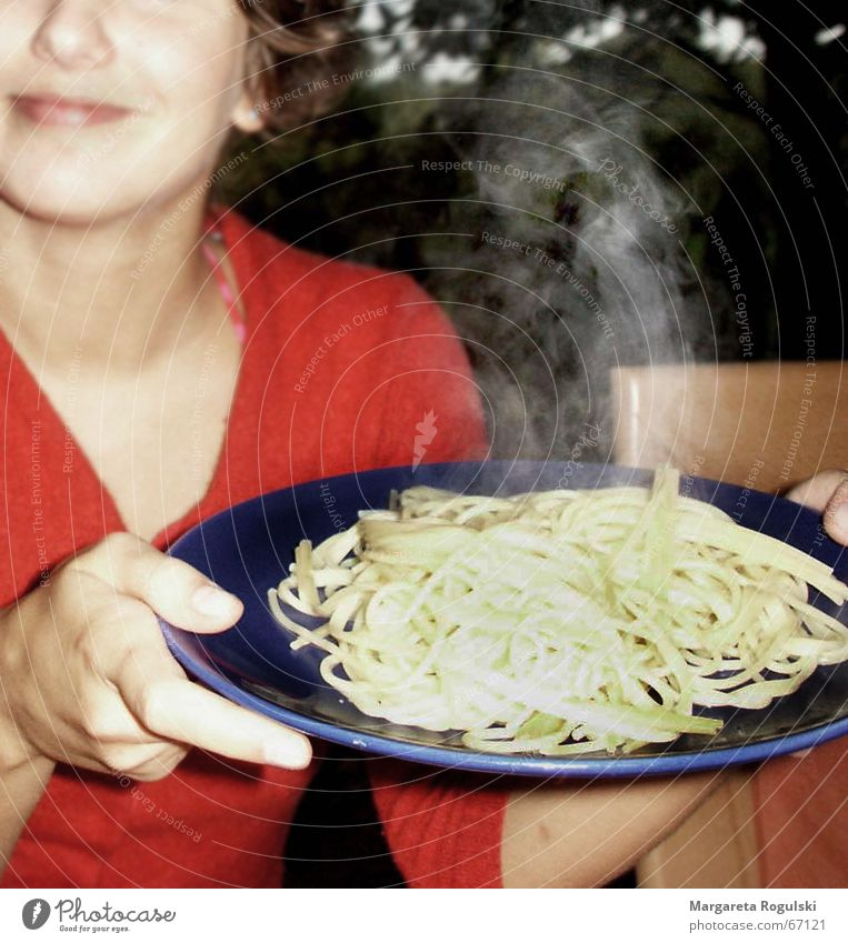 Woman Nutrition Eating Hot Appetite Plate Noodles Lunch Steam Food Meal