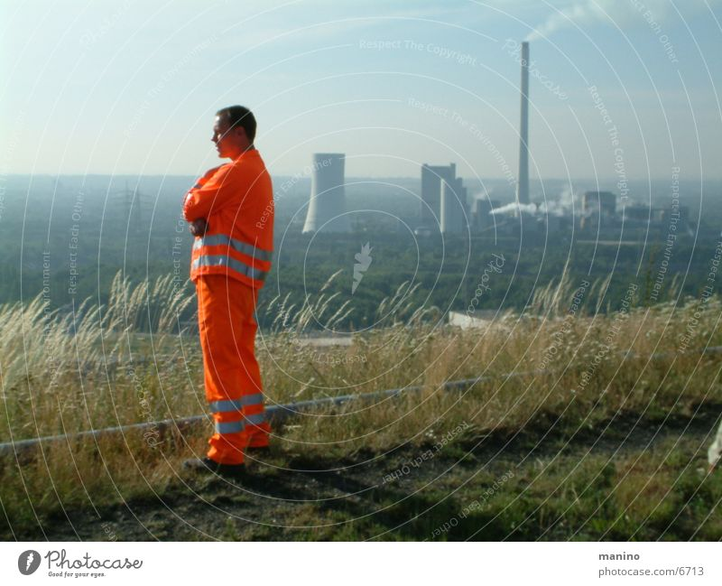 orange Services Energy industry Man Adults 1 Human being Orange Horizon Slagheap The Ruhr Colour photo Exterior shot Day Panorama (View)
