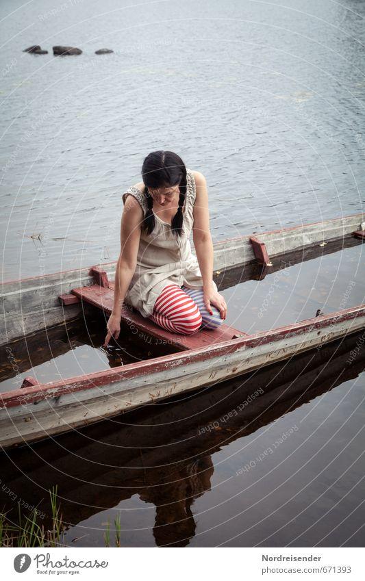 Human being Woman Water Relaxation Calm Adults Life Sadness Feminine Lake Watercraft Moody Lifestyle Wait Romance Dress