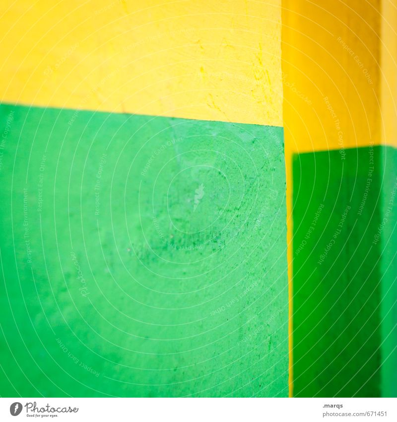 Green Colour Yellow Wall (building) Wall (barrier) Style Background picture Line Lifestyle Elegant Design Concrete Simple Illustration Cool (slang) Hip & trendy