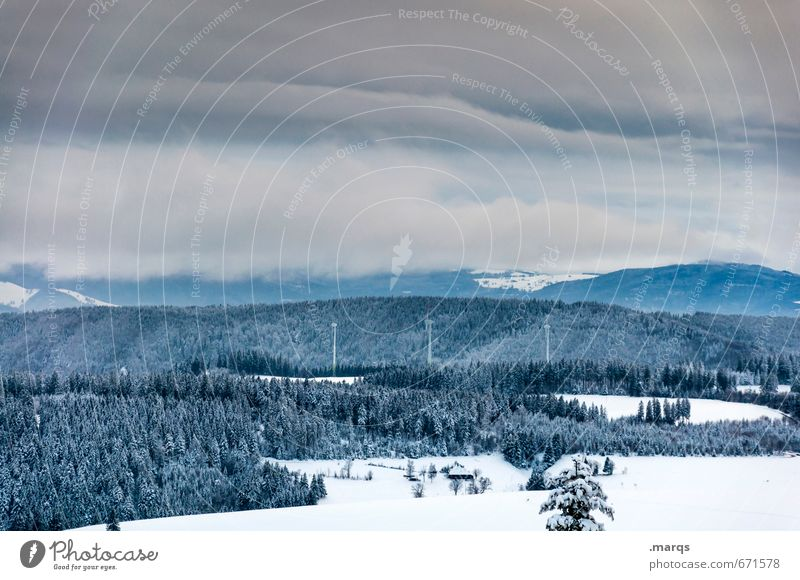 black forest white blue Trip Adventure Pinwheel Environment Nature Landscape Elements Earth Sky Storm clouds Horizon Winter Climate Snow Forest Hill Mountain