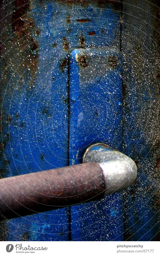 Old Blue Metal Door Gate Rust Door handle Screw Rough Paintwork Doorknob Wing of a door