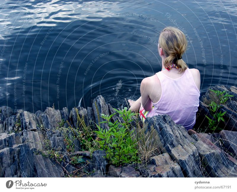 ponder Woman Loneliness Lake Vacation & Travel Summer Emotions Think Far-off places Bushes Familiar Human being Nature Rock Water Blue Looking