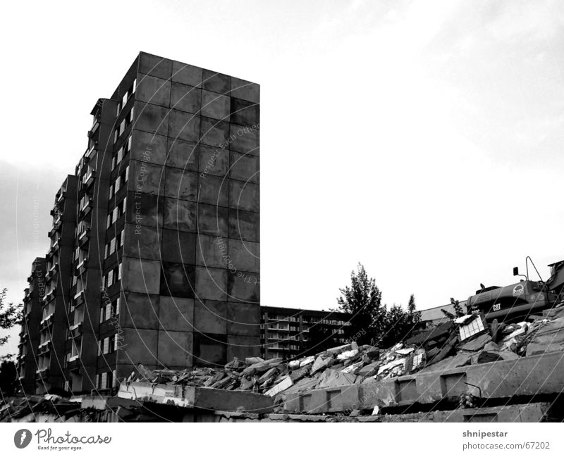 Summer Gloomy Creepy Leipzig Ruin East Dismantling Prefab construction Ghetto 2006 Pedestrian precinct Grünau