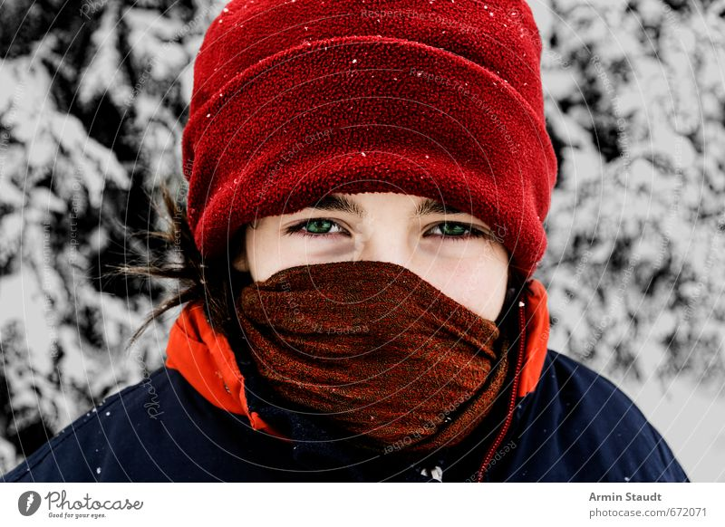 Winterly masked girl Human being Feminine Youth (Young adults) 1 8 - 13 years Child Infancy Nature Snow Forest Scarf Cap Observe Looking Natural Red White
