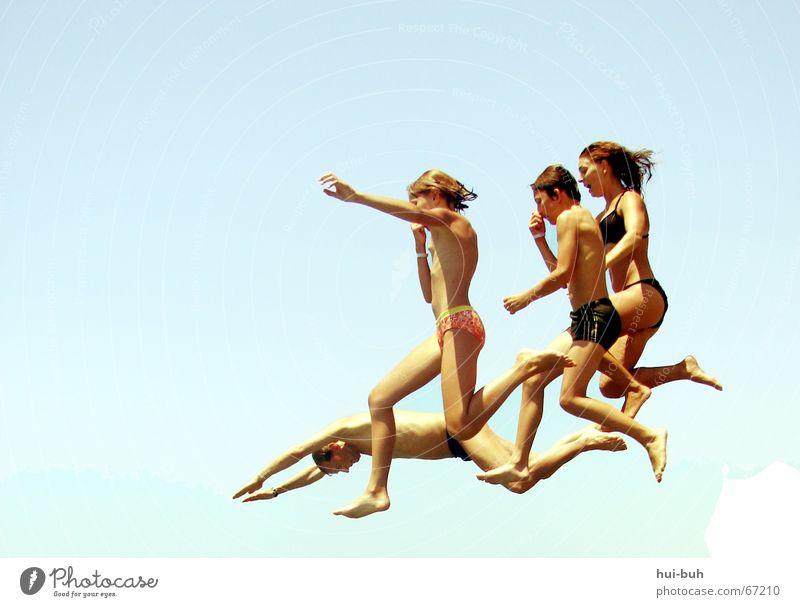 Summer Legs Hair and hairstyles Swimming & Bathing Flying Feet Jump Air Nose Bikini Floating Human being Shorts Swimming trunks Movement Swimwear