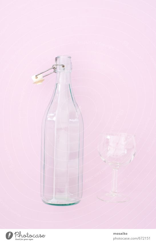 Bottle and glass - Rose Quartz background color Diet Beverage Lifestyle Style Design Joy Beautiful Summer Water Fresh Natural Clean Pink Purity Fitness Pure