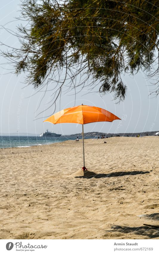 Lonely parasol Vacation & Travel Tourism Summer Cloudless sky Beautiful weather Beach Ocean Sunshade Gloomy Orange Moody Anticipation Loneliness