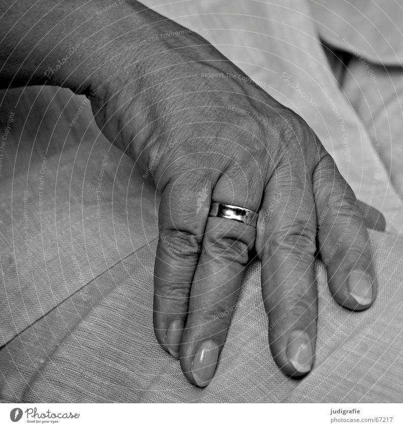 Resting Hand Fingers Fingernail Woman Senior citizen Wedding band Married Calm Earmarked Black & white photo Female senior 60+ Circle Character