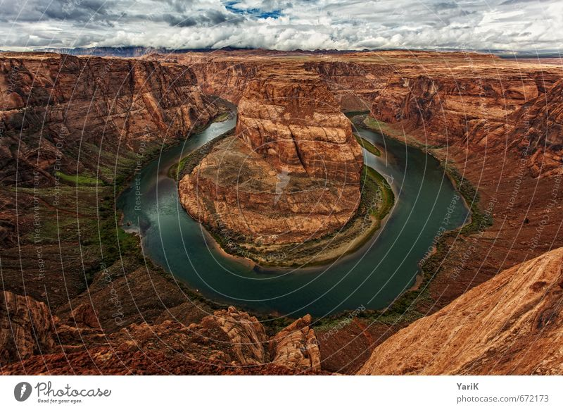 you know, Horseshoe Bend it is Nature Landscape Earth Sand Sky Clouds Sun Sunlight Summer Autumn Beautiful weather Rock Canyon River Tourism American Flag