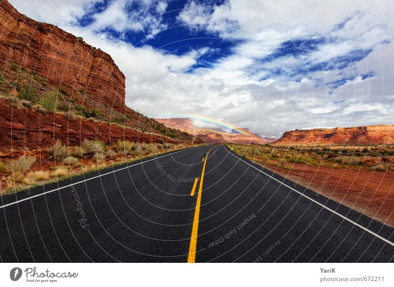 way of unicorn Nature Landscape Earth Sand Sky Clouds Sun Summer Autumn Weather Beautiful weather Bad weather Hill Rock Hope Pavement Street Highway Rainbow