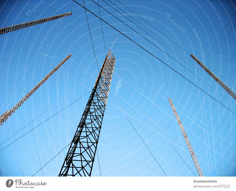 construction visor Construction Wire Aspire Ambitious Project Safety (feeling of) Interlaced Attachment To anchor Rope Electricity pylon Sky visualize