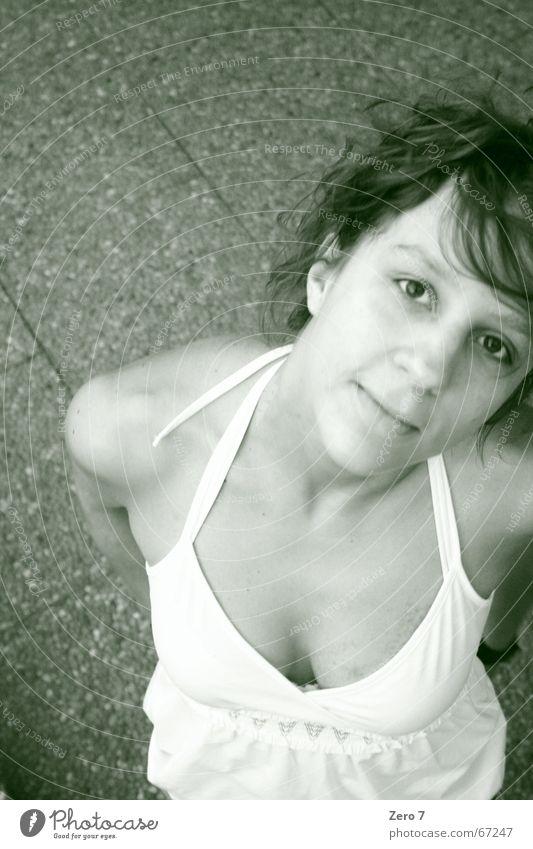 Woman Laughter Floor covering Dress Tile Black & white photo