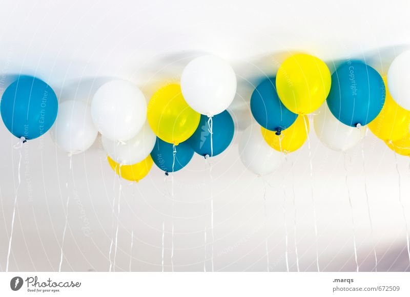 Blue Colour White Joy Yellow Feasts & Celebrations Bright Party Lifestyle Contentment Birthday Happiness Joie de vivre (Vitality) Sign Balloon Wedding