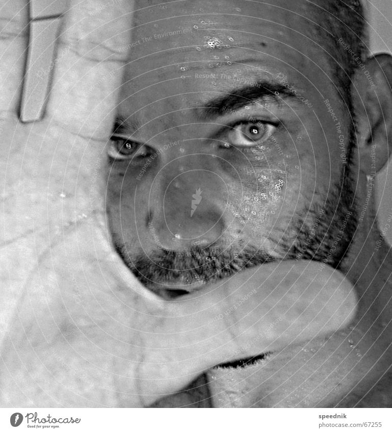 I'm a chemical boy Facial hair Masculine Macho Eyebrow Hand Fingers Blur Black White Perspiration Wet Damp Portrait photograph Self portrait Black & white photo
