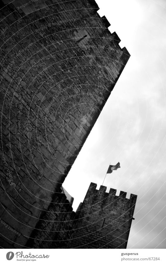 antiquity Masonry Old times Flag Defensive Safety Medieval times Tower Castle Historic Historic Buildings Watch tower Worm's-eye view Black & white photo
