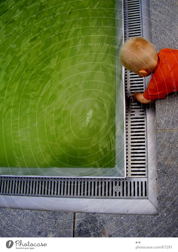 Child and water Prager Strasse Dresden Well Playing Water green GDR