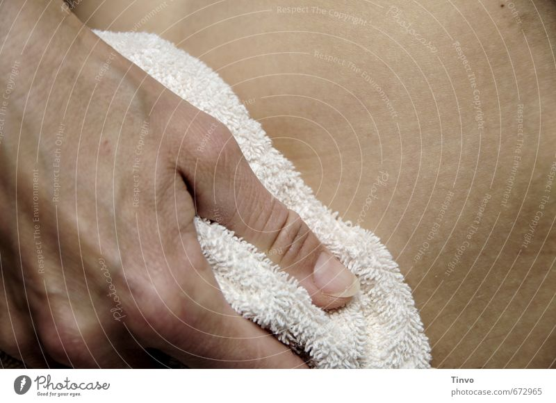After the bath Feminine Skin Hand Fingers Stomach 1 Human being Personal hygiene dry off Dry Towel Cleaning Section of image Terry cloth Colour photo