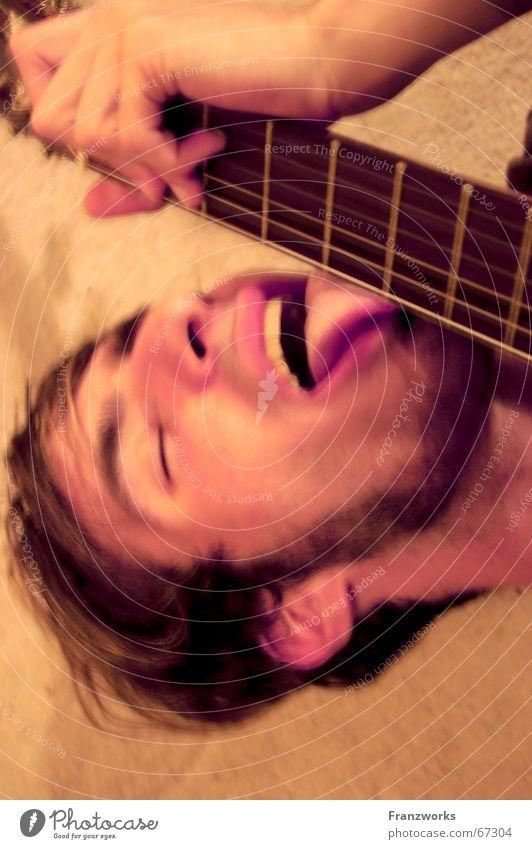 Man Joy Music Concert Guitar Guy Attempt Tongue Lick Rock'n'Roll Go crazy