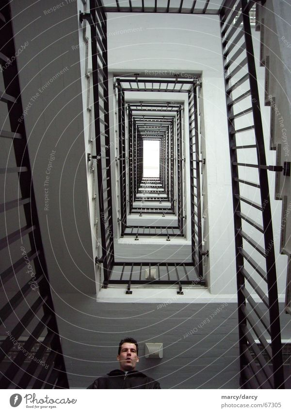 Human being Face House (Residential Structure) Stairs Empty Level Infinity Middle Upward Banister Staircase (Hallway) Ascending Downward Hold Symmetry