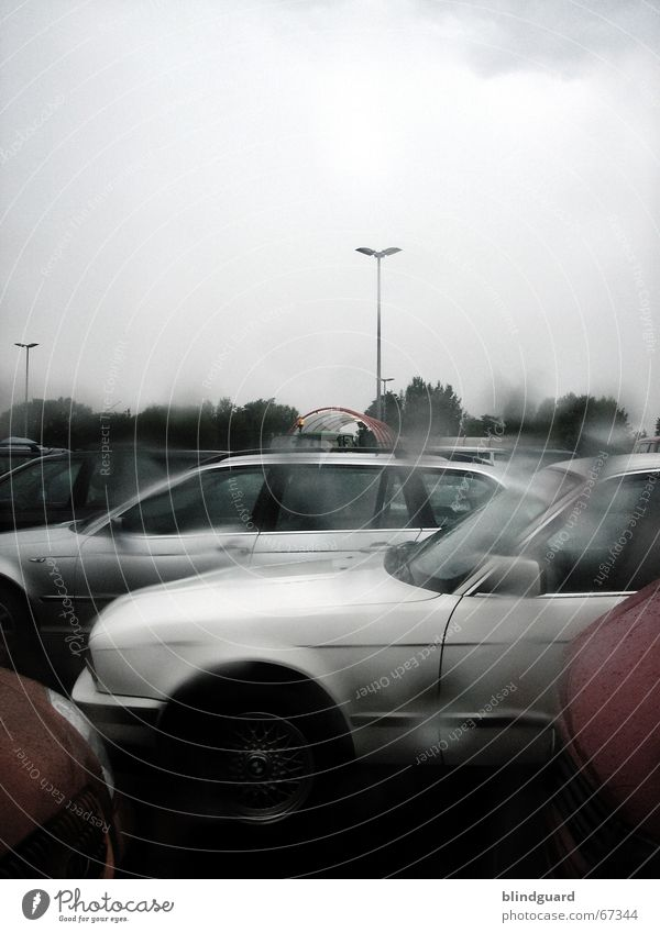 Dark Car Rain Wait Drops of water Wet Thunder and lightning Storm Parking lot Window pane Vista