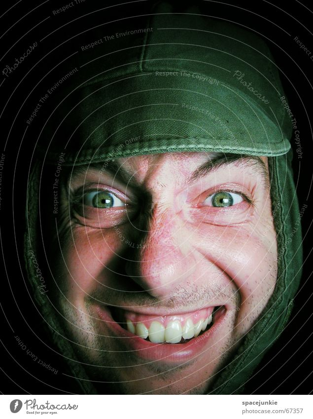 Human being Green Face Laughter Hat Cap Stupid Repeating Grinning Freak Laundry