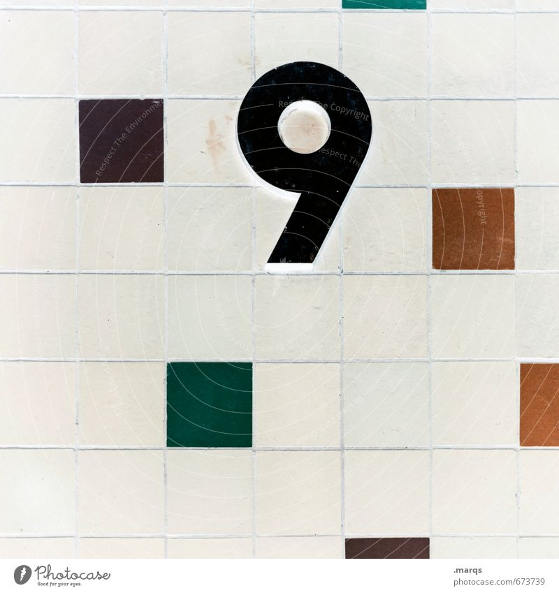 9 Design Wall (barrier) Wall (building) Mosaic Digits and numbers Simple Multicoloured Black White Colour Age Birthday House number Colour photo Exterior shot