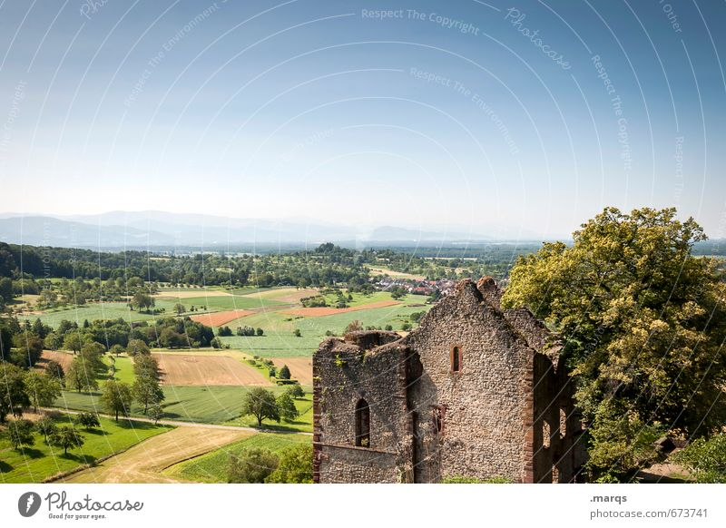 country Tourism Trip Far-off places Nature Cloudless sky Horizon Summer Beautiful weather Meadow Field Castle Ruin Relaxation Baden-Wuerttemberg Summery Rural