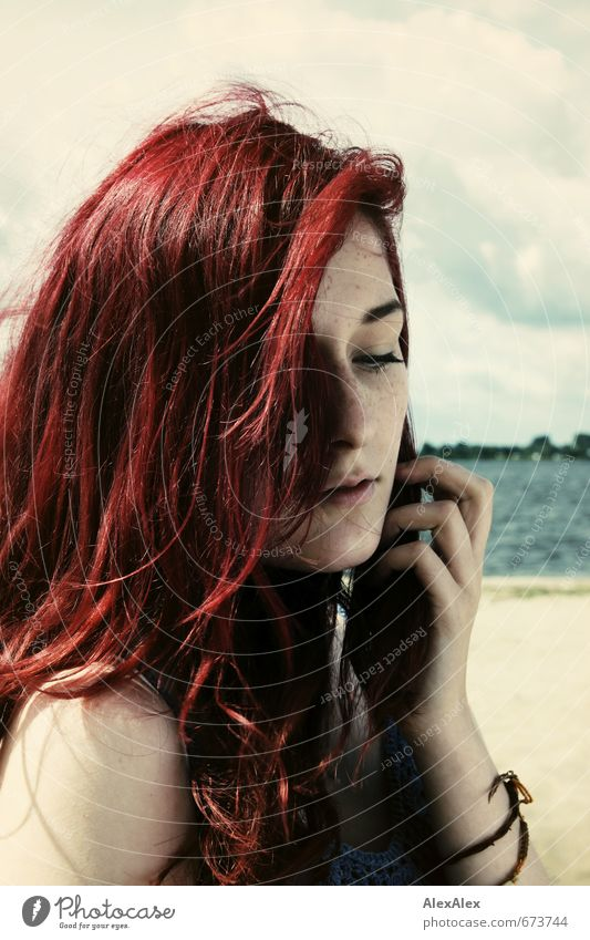 beach girl Vacation & Travel Beach Young woman Youth (Young adults) Hair and hairstyles Face Hand Freckles 18 - 30 years Adults River bank Red-haired
