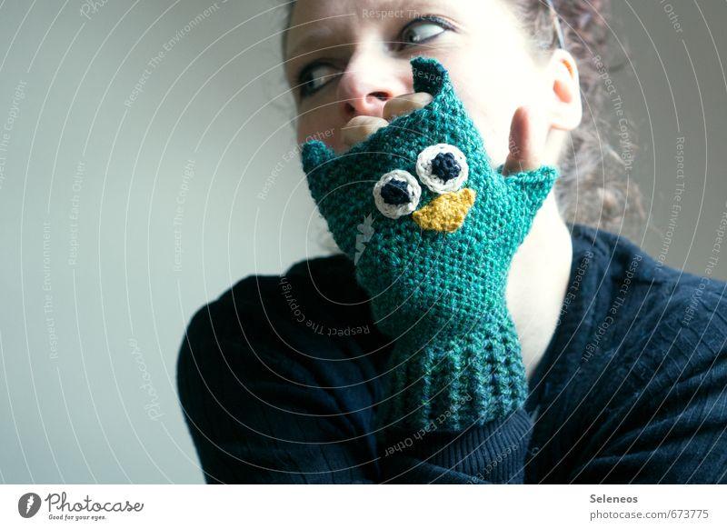 owl mitten Leisure and hobbies Handcrafts Knit Crochet Human being Feminine Woman Adults Face Fingers 1 Autumn Winter Gloves Animal Owl birds Freeze