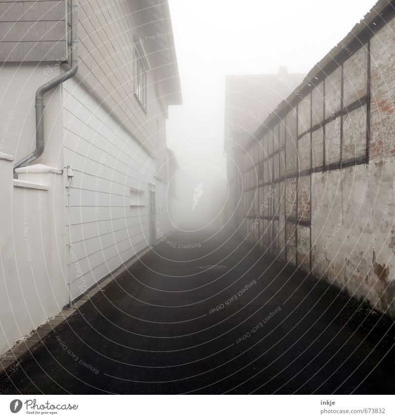 Old Loneliness House (Residential Structure) Dark Wall (building) Street Emotions Lanes & trails Building Wall (barrier) Moody Air Fear Together Facade Fog