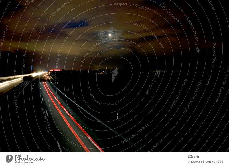Sky Clouds Street Car Stripe Highway Moon Go under