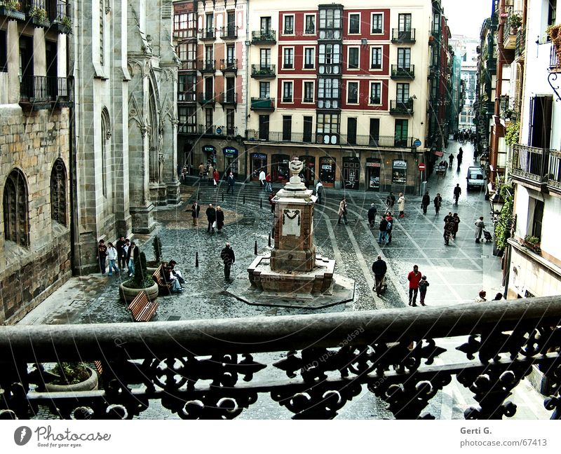 Plaza in Bilbo Bilbao Spain Places Human being Monument Balcony Building House (Residential Structure) Comfortless Vantage point Bench Multicoloured Window