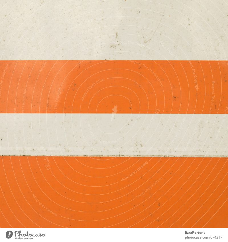 straight Art Wall (barrier) Wall (building) Facade Metal Signs and labeling Signage Warning sign Line Stripe Dirty Orange White Design Structures and shapes