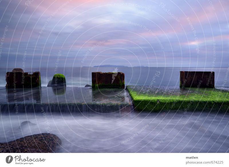 Sky Blue Green Plant Ocean Landscape Clouds Winter Coast Gray Horizon Pink Weather Break water Algae Stone slab
