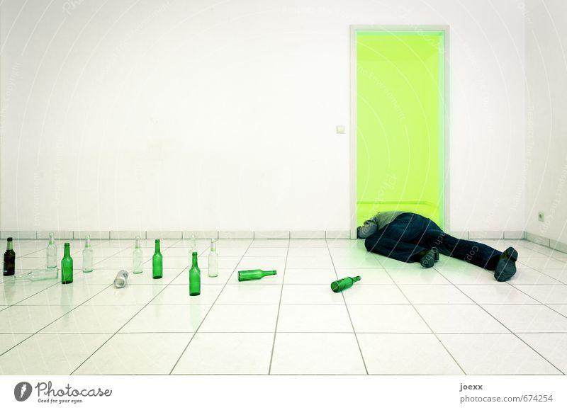 Full Alcoholic drinks Masculine Legs 1 Human being Wall (barrier) Wall (building) Door Lie Sleep Drinking Illness Gray Green Black White Distress