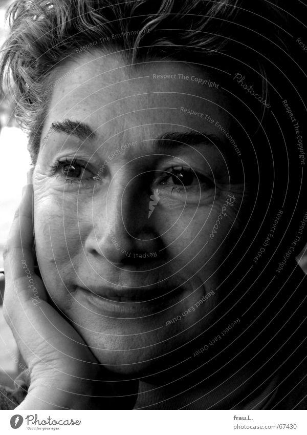 Elfie smiles Joy pretty Face Calm Woman Adults Female senior Senior citizen Eyes Hand Glittering Laughter Deep Attractive Laugh lines 50 plus Wrinkles Melt