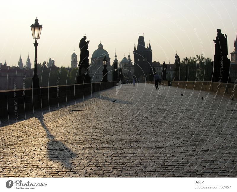 Peak view Charles Bridge Prague Czech Republic Twilight Sunrise Lantern Monument Town Back-light Morning Tower Point Shadow Contrast Silhouette Paving stone
