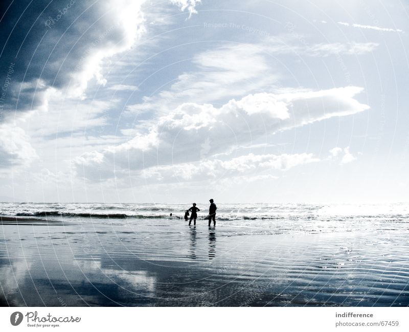 walking on the water Beach Sky Summer Human being clouds sea Sand wave tuscany