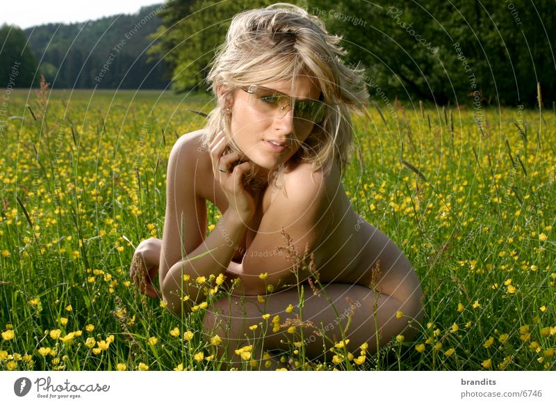 Nude in the green 3 Woman Meadow Flower Sunglasses Blonde Nude photography Female nude