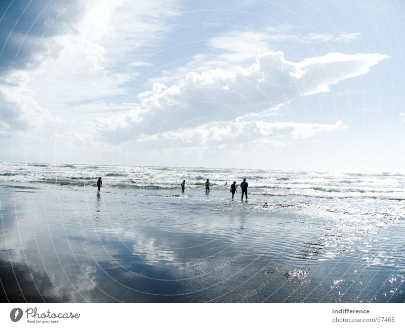 clouds and water reflection Sky Beach Human being Summer Sand wave sea tuscany