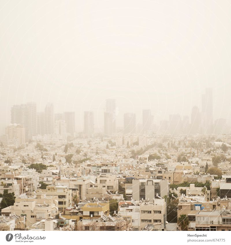 Sandstorm over Tel Aviv Sky Bad weather Fog Israel Town Downtown Skyline House (Residential Structure) High-rise Bank building Exceptional Threat Yellow White