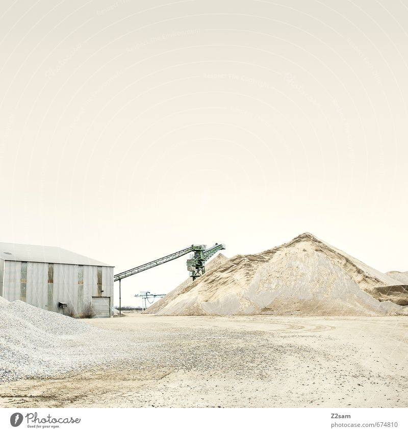 Industrial Romanticism 5 Construction site Industry Earth Sand Sky Hill Lake Architecture Crane Conveyor belt Dirty Sharp-edged Trashy Calm Loneliness Elegant