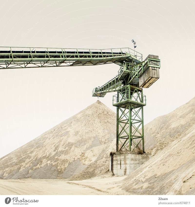 Industrial Romanticism 6 Construction site Industry Earth Sand Sky Hill Architecture Crane Mine tower Dirty Sharp-edged Trashy Calm Loneliness Elegant Logistics