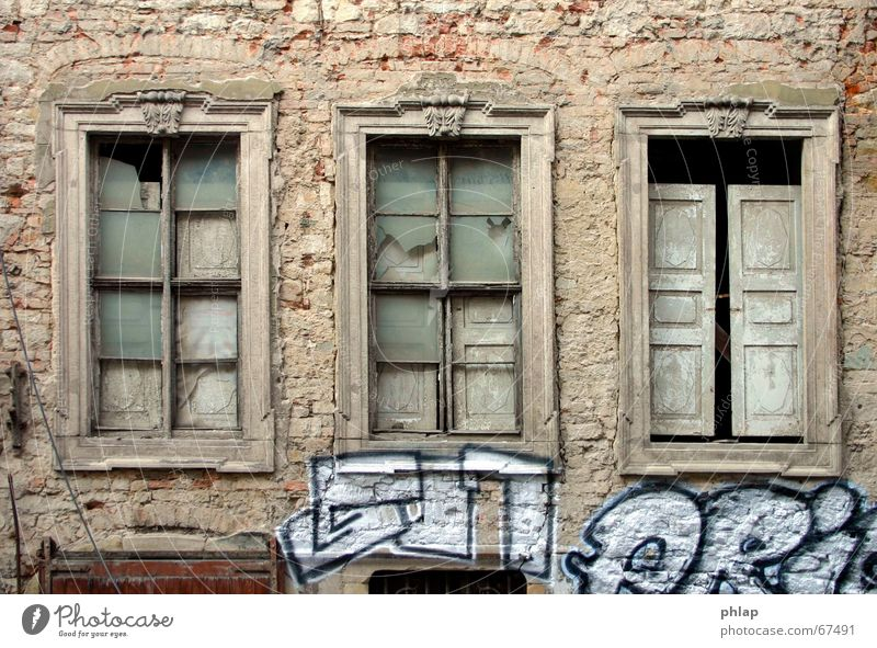 Window into emptiness Black White House (Residential Structure) Historic Renaissance Building Ruin Facade Vacancy Grief Hope Exterior shot Still Life graffiti