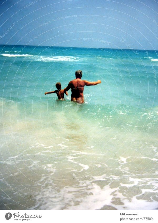 Grandpa with grandson 2 Summer Joy Grandfather Grandchildren Child Vacation & Travel Ocean Beach Water Waves Swimming & Bathing Romp Naked Wet Brown Free Fresh