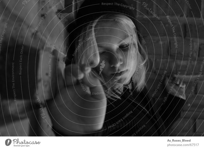 alone Dark Loneliness Woman Calm Young woman 18 - 30 years Face of a woman Portrait photograph Exterior shot Black & white photo Looking away Expressionless