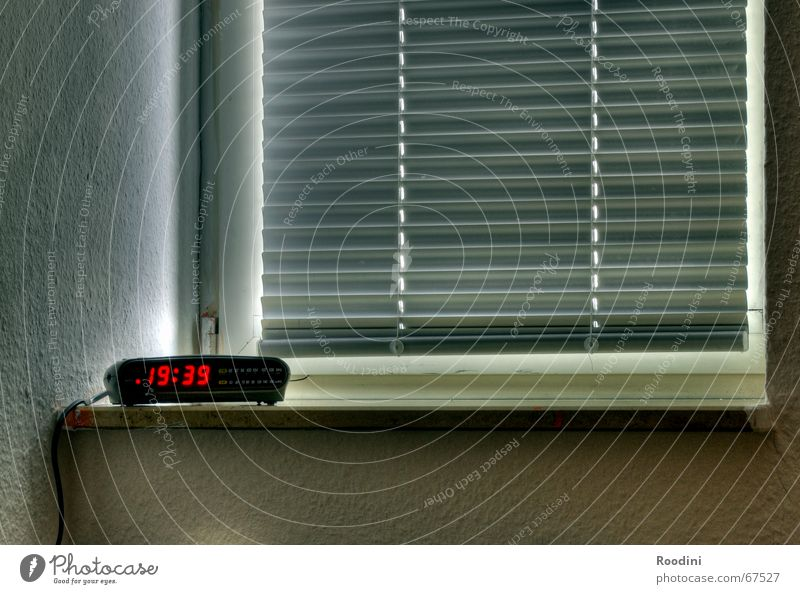 Get up? Clock Time Alarm clock Window Window board HDR Display Digital Digits and numbers Venetian blinds Evening
