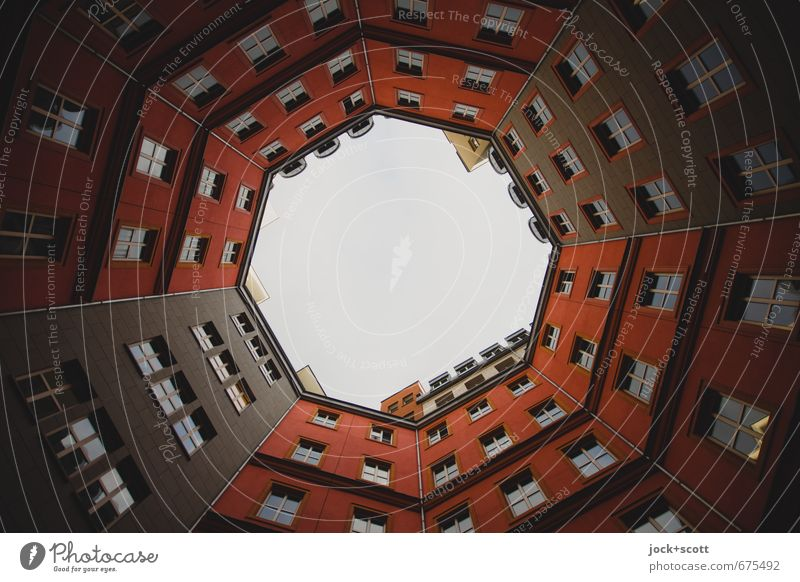 Red backyard Style Sky Apartment Building Facade Well of light Sharp-edged Tall Modern Center point Symmetry Backyard Round Frame Real estate market