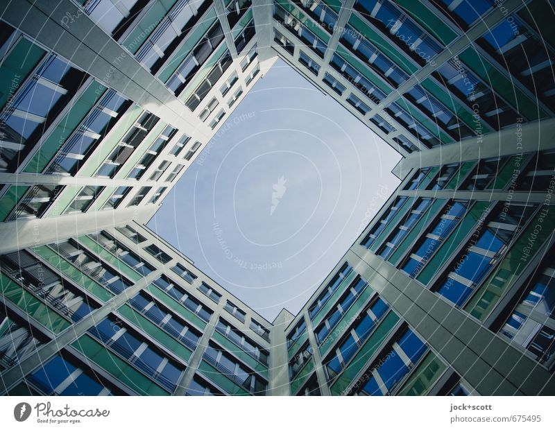 Blue backyard Office building Backyard Facade Window Sharp-edged Modern Symmetry Frame Real estate market Structures and shapes Neutral Background Shadow
